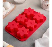 Форма для выпечки «Снежинка», 25×17 см, 6 ячеек, цвет МИКС
