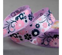 Лента атласная «Цветы», 25 мм × 22 ± 1 м, цвет фиолетовый №044