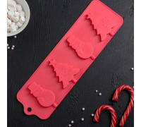 Форма для леденцов и мороженого «Новый год», 31×9 см, 4 ячейки, цвет МИКС