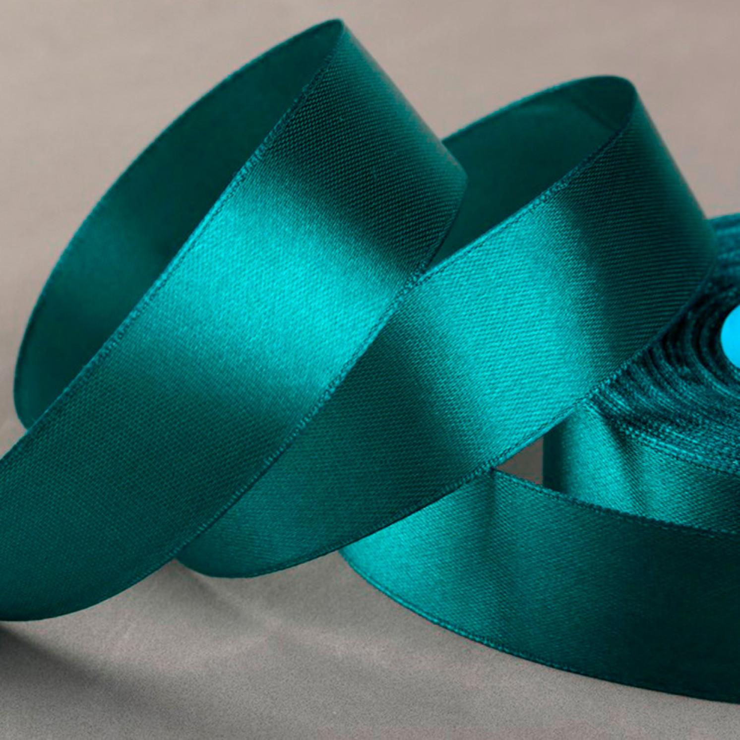 Лента атласная, 25 мм × 33 ± 2 м, цвет тёмно-зелёный №106