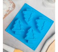 Форма для выпечки «Новый год. Ёлочки», 18×18 см, 4 ячейки, цвет МИКС