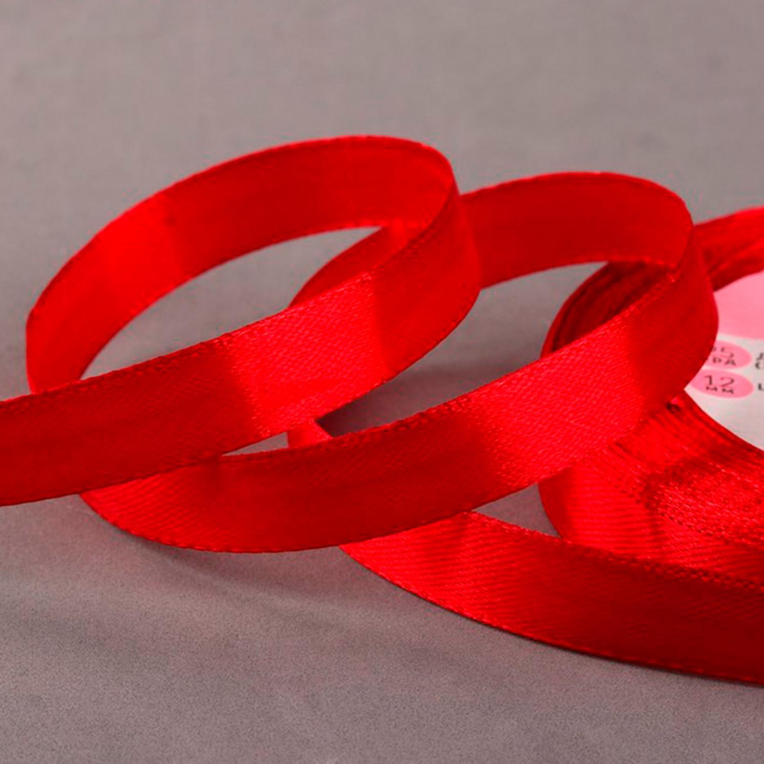 Лента атласная, 12 мм × 23 ± 1 м, цвет бордовый №33