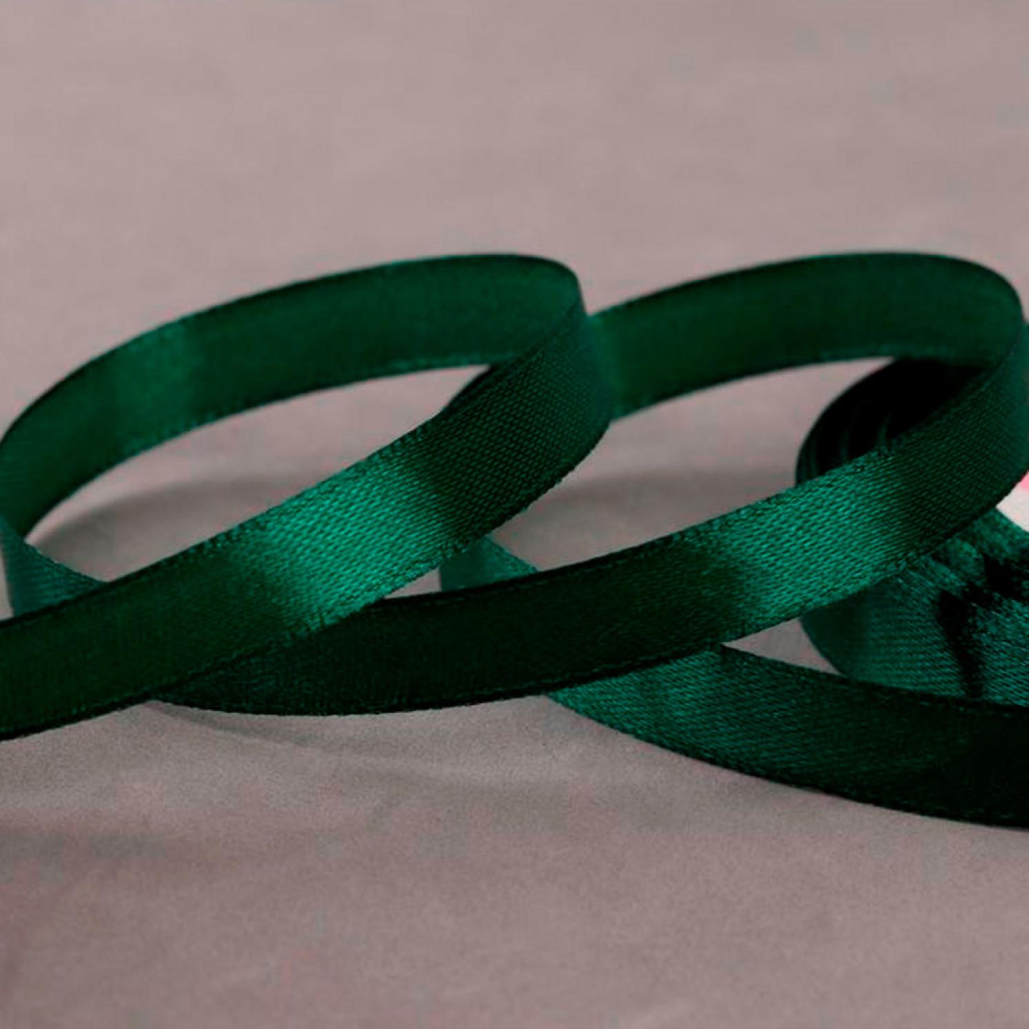 Лента атласная, 10 мм × 23 ± 1 м, цвет тёмно-зелёный №49