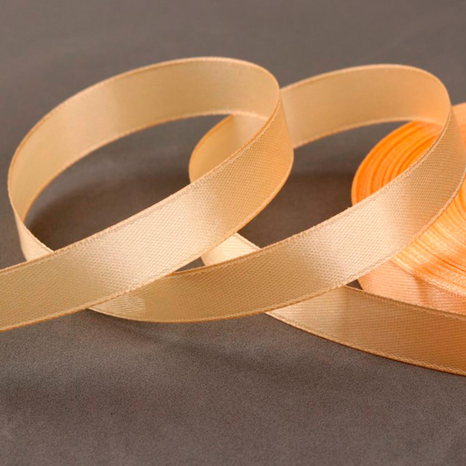 Лента атласная, 12 мм × 33 ± 2 м, цвет светло-персиковый №006