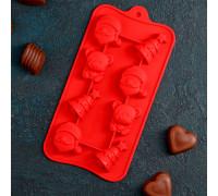 """Форма для льда и шоколада, 8 ячеек, 21х11х2 см """"Новый год"""", цвета МИКС"""