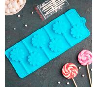 Форма для леденцов и мороженого «Ромашка», 9,5×24×1 см, 6 ячеек, с палочками, цвет МИКС