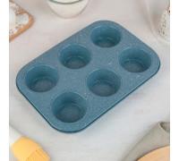 Форма для выпечки «Мрамор. Круг», 27×19,2 см, 6 ячеек, антипригарное покрытие