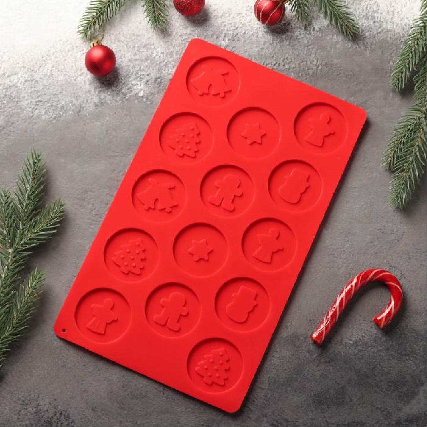 Форма для льда и шоколада «Новогодние кружочки», 29,8×17,5 см, 14 ячеек (d=5 см), цвет МИКС