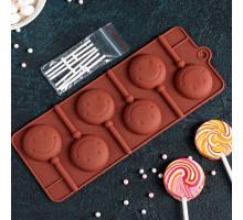 Форма для леденцов и мороженого 24×9,5 см «Смайл» с палочками, 6 ячеек (d=4 см), цвет МИКС