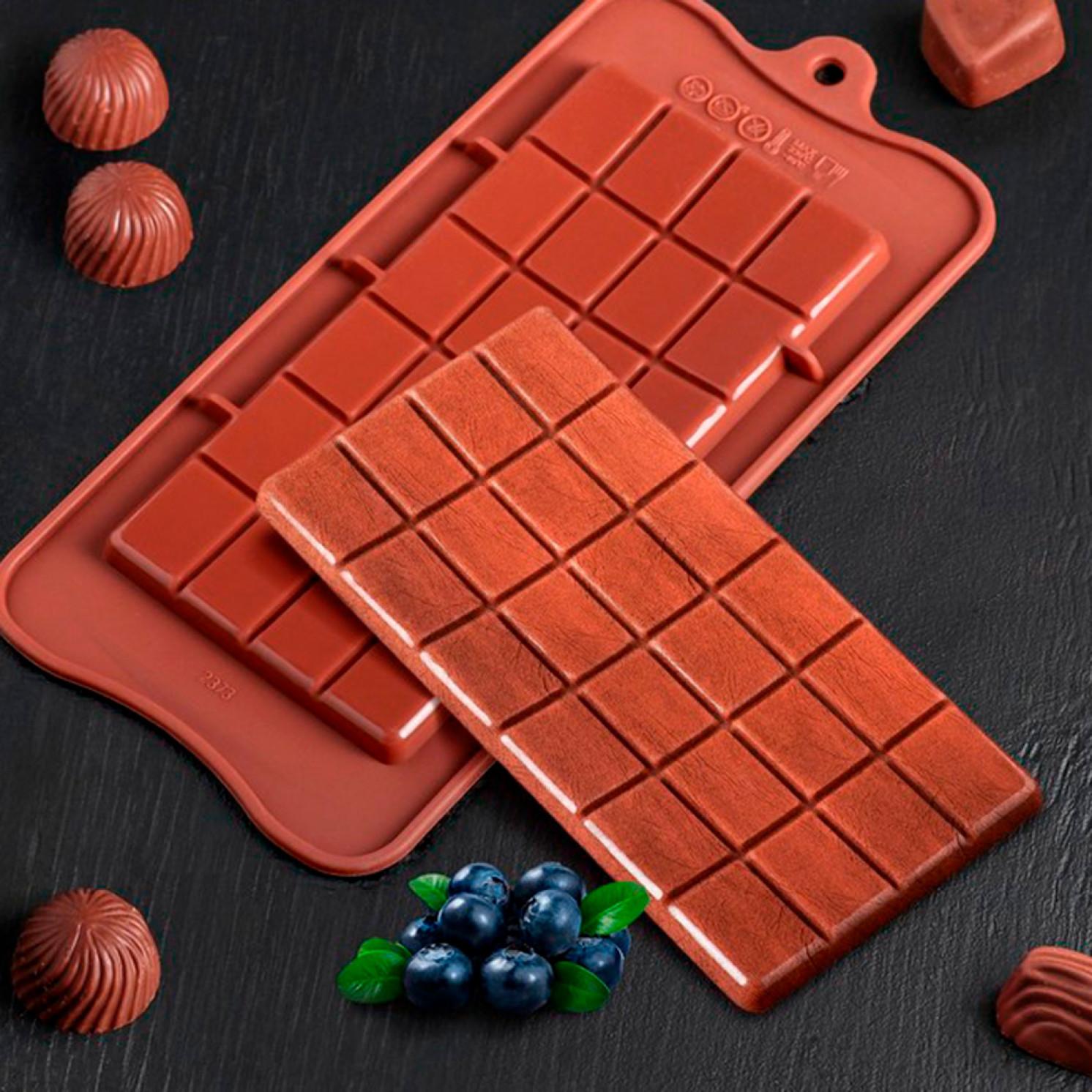 Форма для льда и шоколада «Плитка», цвет шоколадный