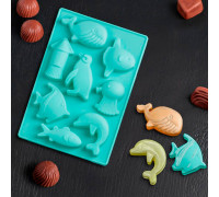 Форма для льда и шоколада «Морская», 14×9,5 см, 8 ячеек (3,8×3,8 см), цвет МИКС