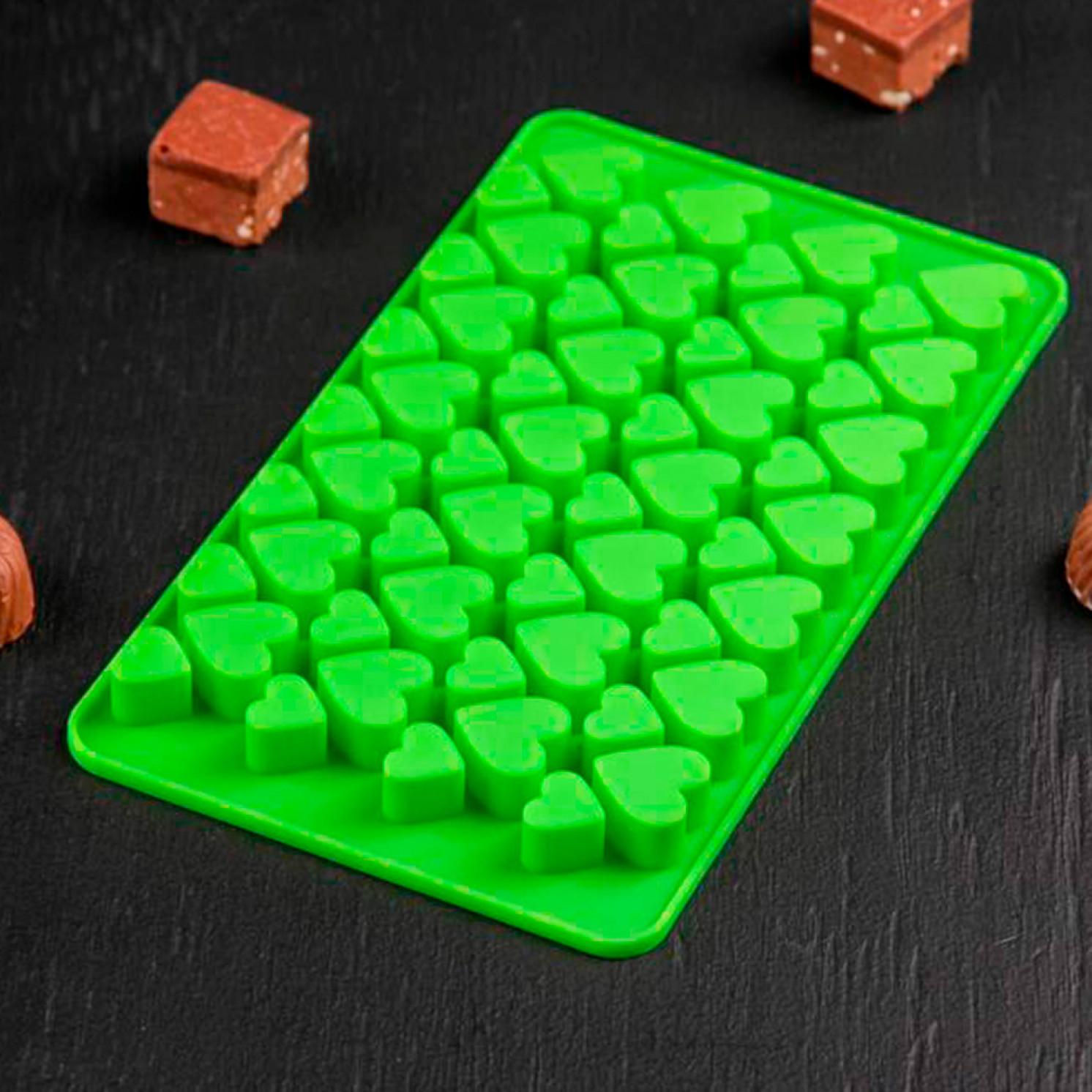 Форма для льда и шоколада «Сердечки», 19,5×11,5 см, 56 ячеек (2×2/1,5×1,5 см), цвет МИКС