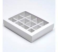 Коробка для конфет, 12 шт, белая, 19 х 15 х 3,5 см