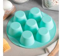 Форма для выпечки «Круг», d=25,5 см, 7 ячеек (6×6×4 см), цвет МИКС