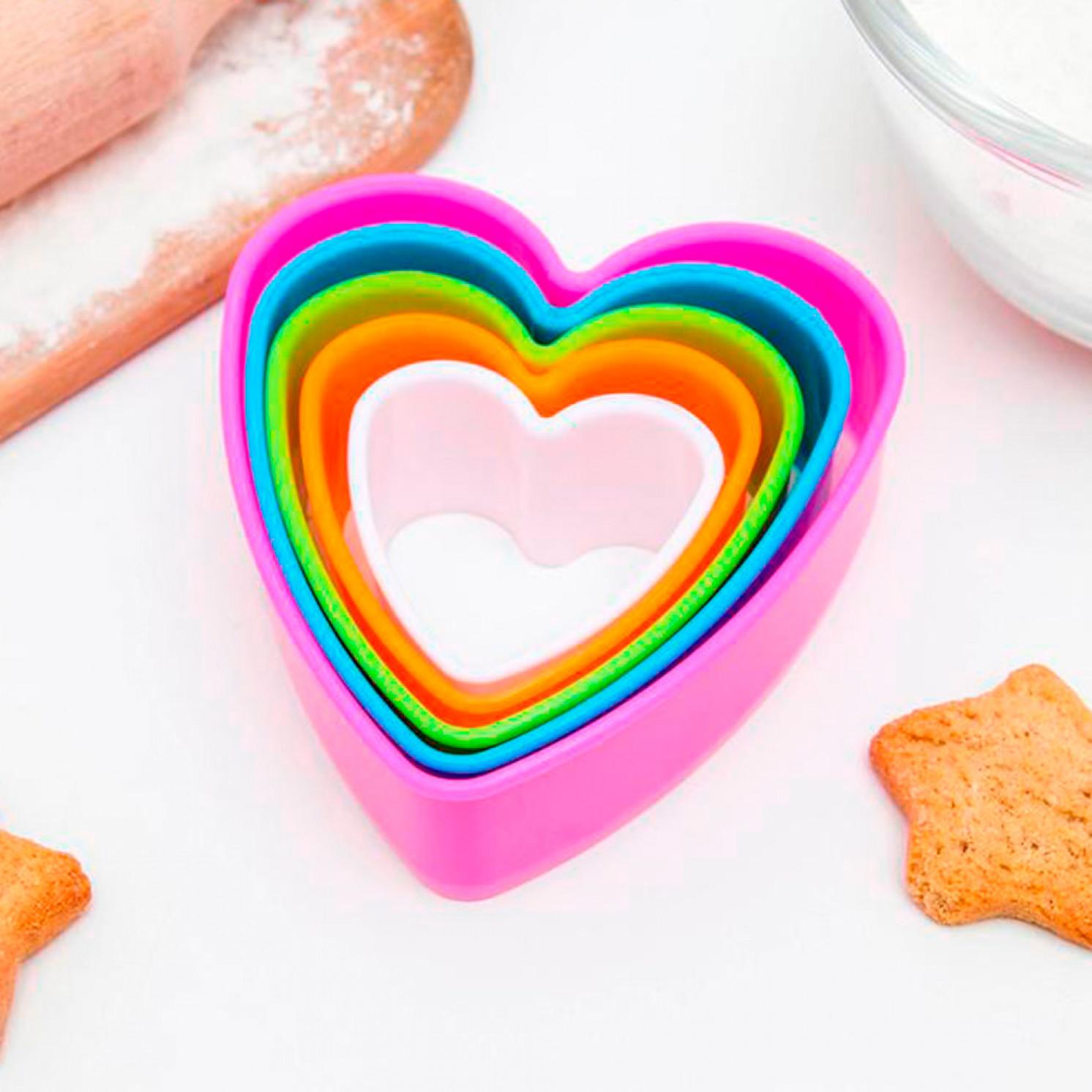 """Набор форм для печенья """"Сердце"""", 5 шт, цвет МИКС"""