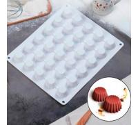 Форма для муссовых десертов и выпечки 28×24 см «Круг. Риб», 30 ячеек (d=3, 3см), цвет белый