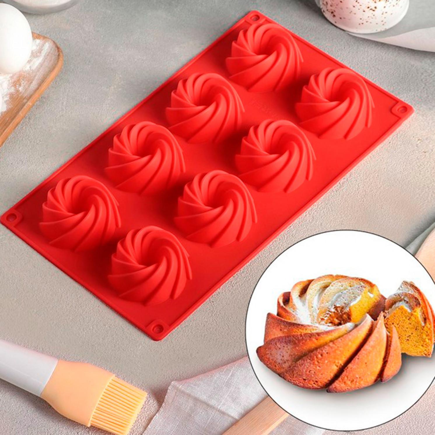 Форма для выпечки «Немецкий кекс. Вихрь», 28,5×17 см, 8 ячеек (d=5,7 см), цвет МИКС