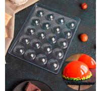 Форма для шоколада 23,6×18,8 см «Полусфера», 20 ячеек (4×4×1,8 см)