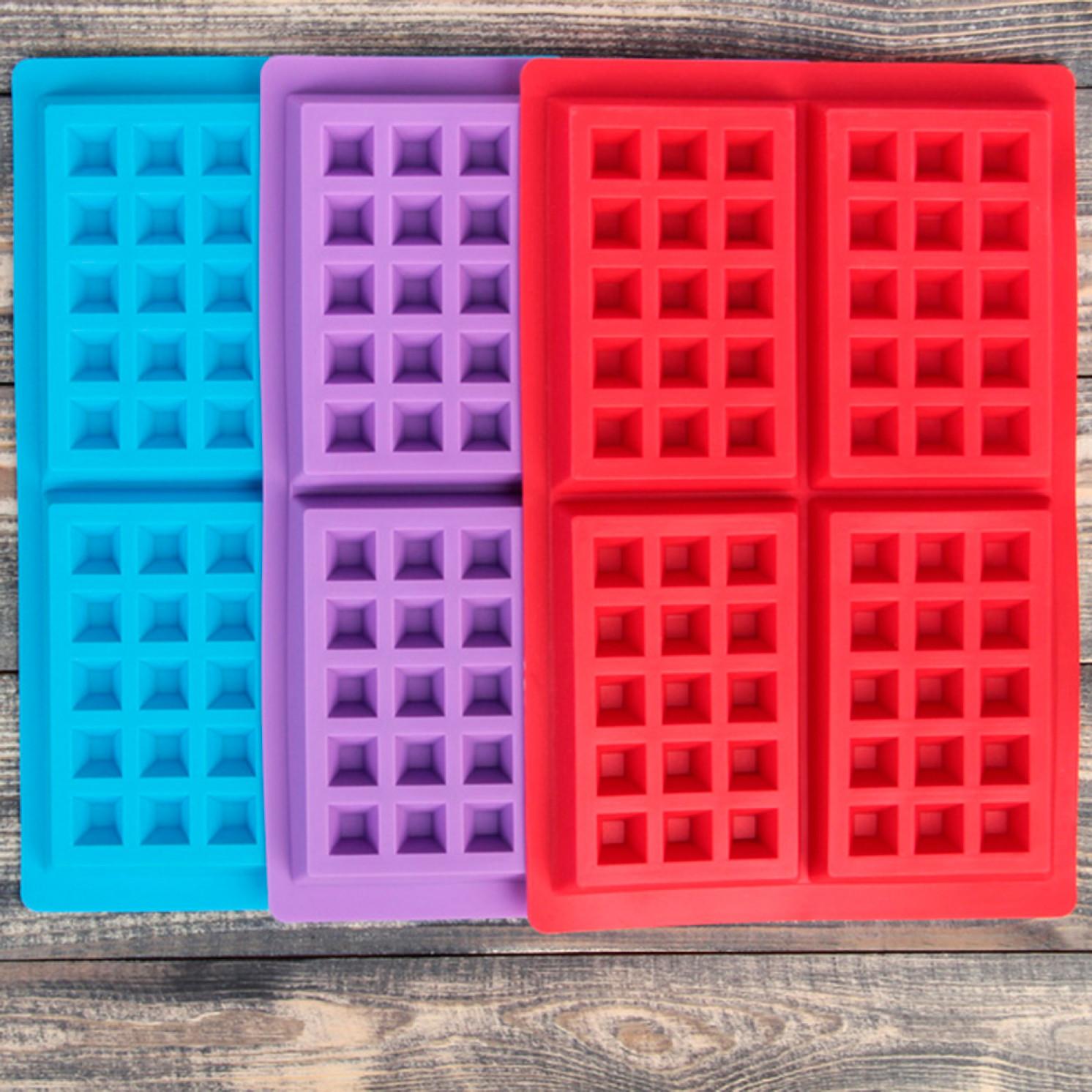 Форма для выпечки «Сладости. Венские вафли», 28,5×18,5 см, 4 ячейки (12,3×8,1 см), цвет МИКС