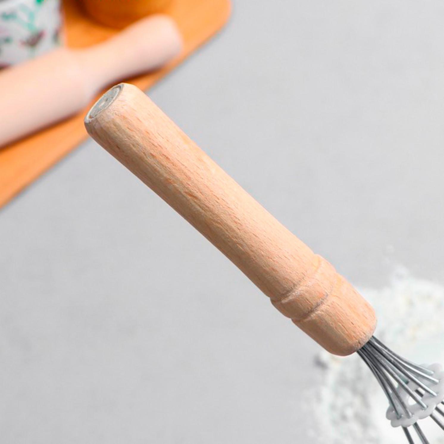 """Венчик для взбивания с деревянной ручкой """"Классика"""", 27 см"""