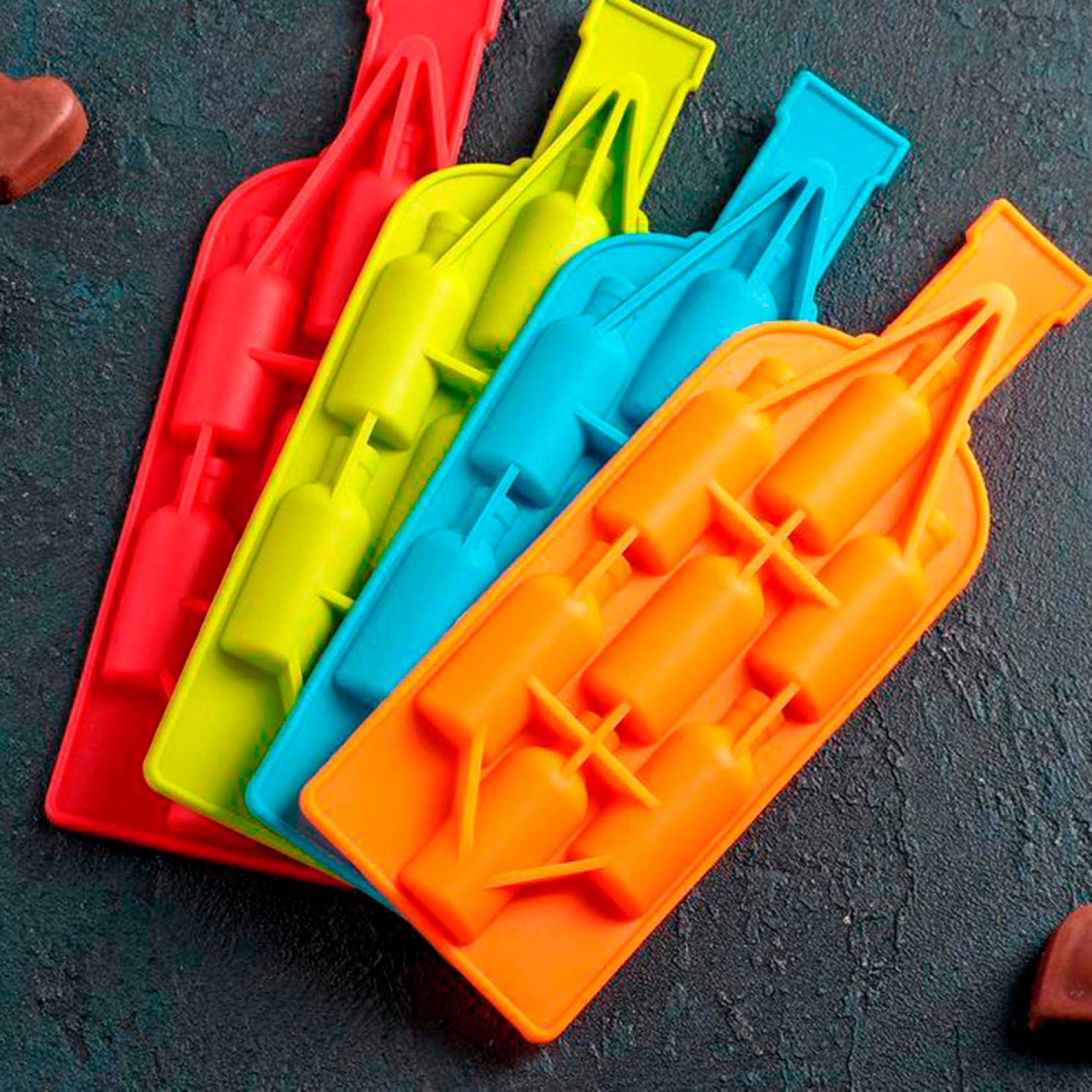 Форма для льда и шоколада 22,5×8 см «Бутылка», 7 ячеек (6,3×2,2×1,5 см), цвет МИКС