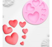 Молд силиконовый «Сердца», 7,5×7,5 см, цвет МИКС