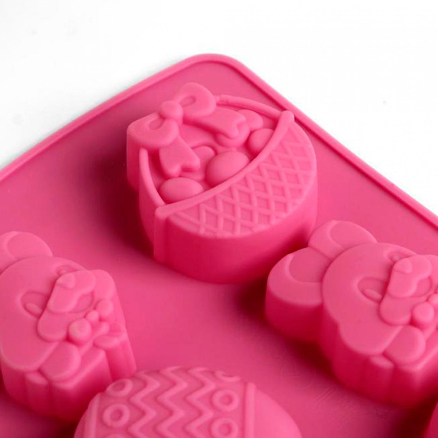 Силиконовая форма для выпечки «Пасхальная композиция» розовая, 11,6 х 22,5 см