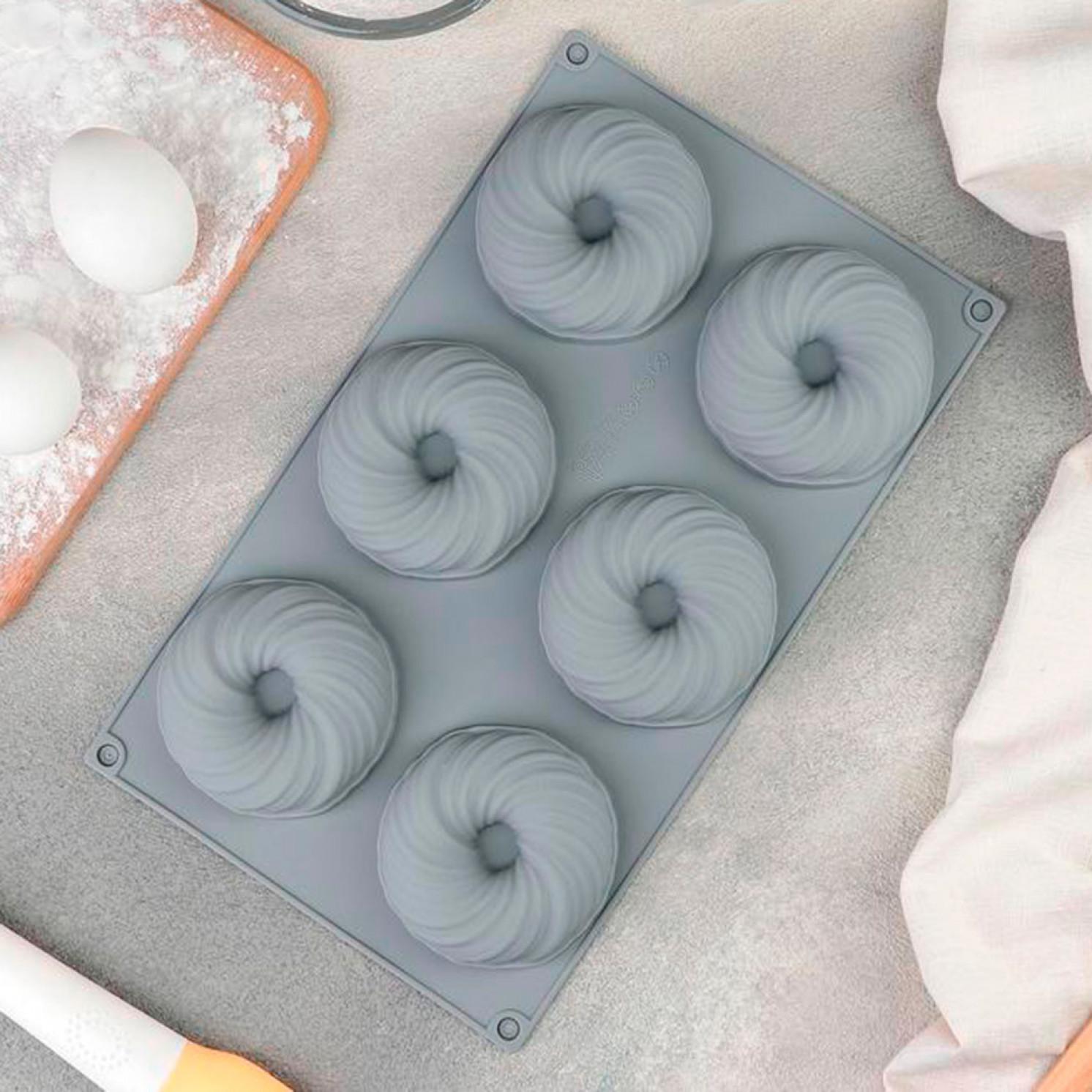 Форма для муссовых десертов и выпечки «Вихрь», 29,8×17,5 см, 6 ячеек, цвет МИКС