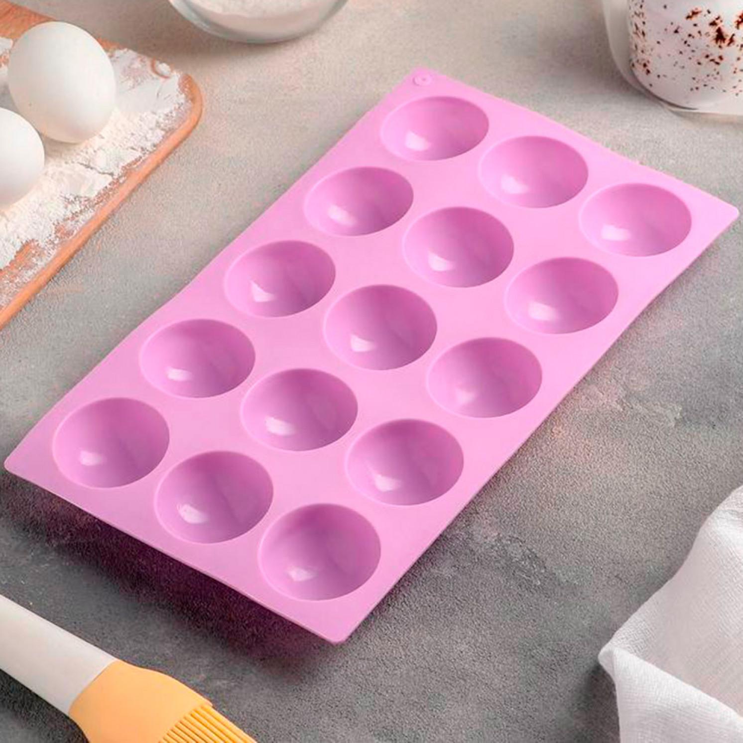 Форма для выпечки «Полусфера», 28×16,5 см, 15 ячеек (d=4,5 см), цвет МИКС