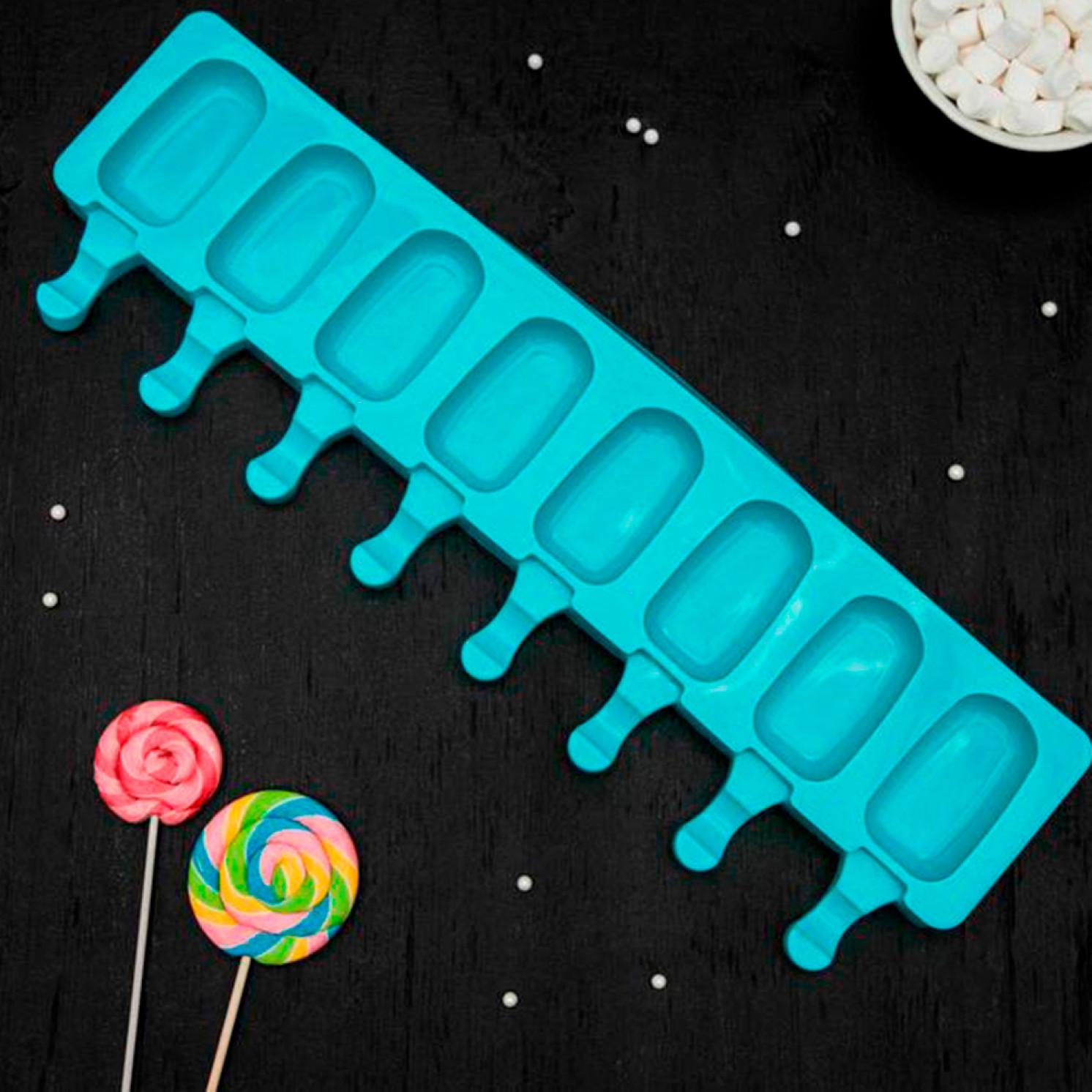 Форма для леденцов и мороженого «Эскимо», 42×12,5 см, 8 ячеек, цвет МИКС