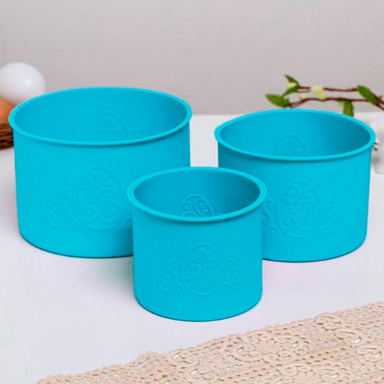 Набор силиконовых форм для выпечки «ХВ» голубые, 3 шт.