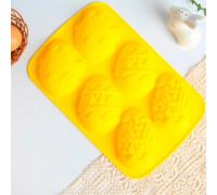 Силиконовая форма для выпечки «Зайцы и цыплята» желтая, 17,1 х 26 см