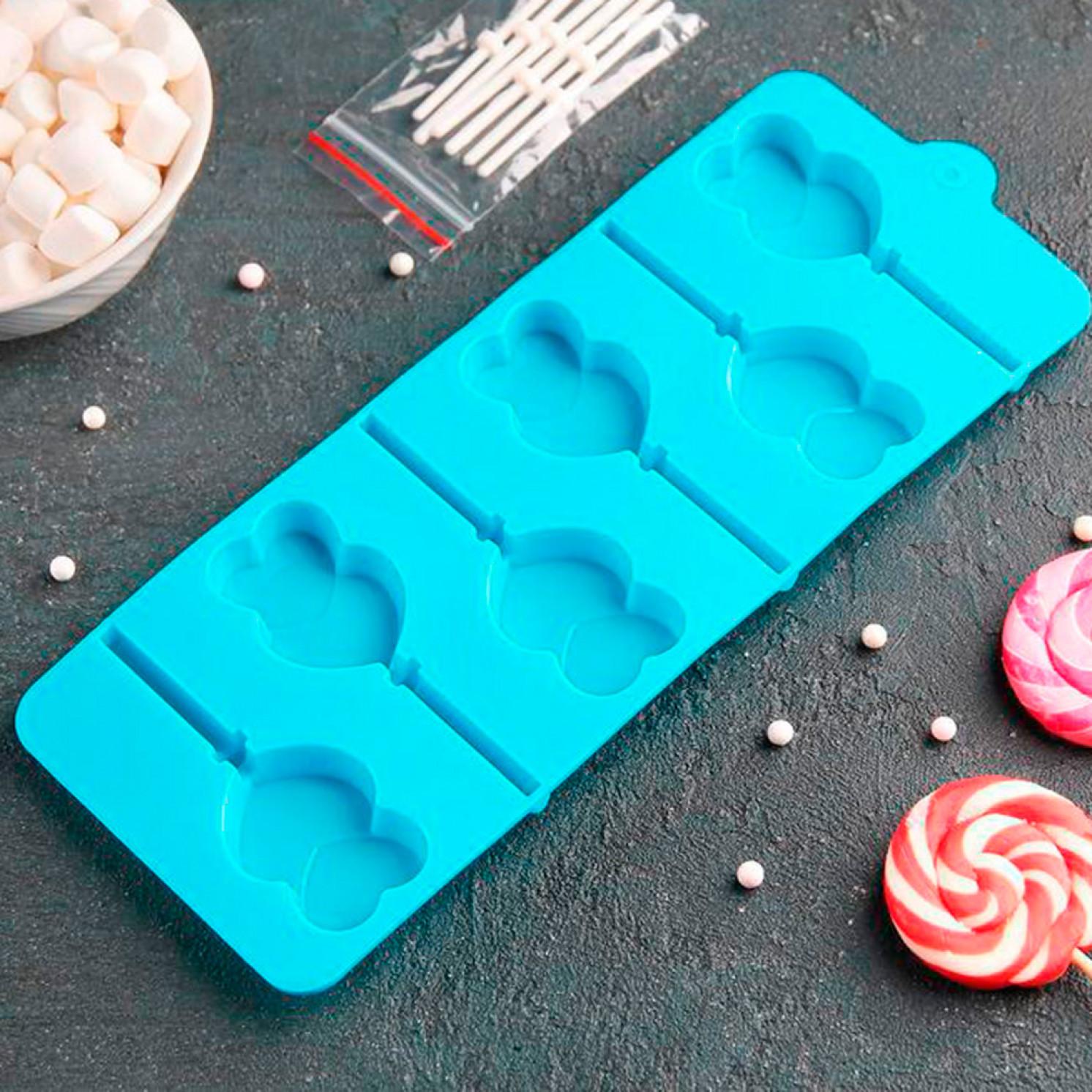 Форма для леденцов и мороженого «Влюблённость», 9,5×24×1 см, 6 ячеек, цвет МИКС