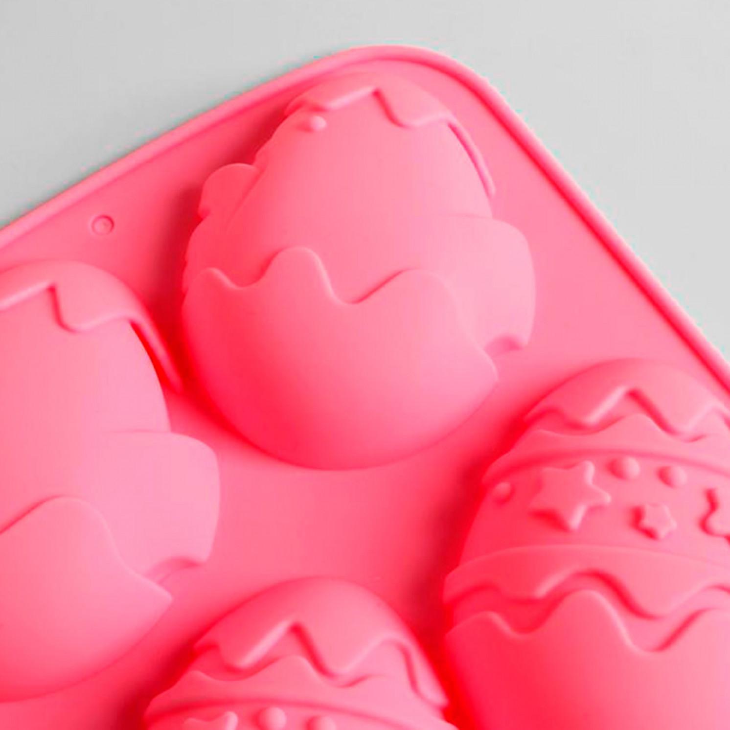Силиконовая форма для выпечки «Зайцы и цыплята» розовая, 17,1 х 26 см