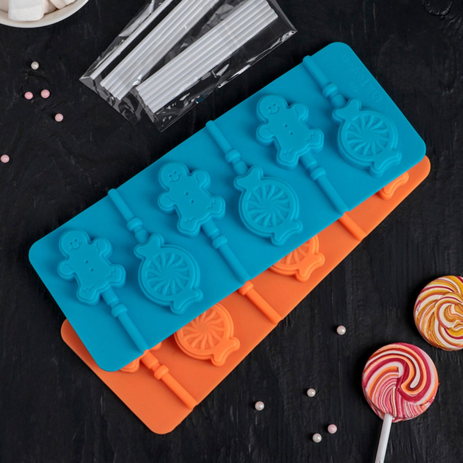 Форма для леденцов и мороженого «Человечек, карамель», 23×9,5 см, 6 ячеек, цвет МИКС