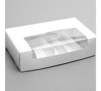Коробка под 5 эклеров, с окном, 25,2 х 15 х 7 см