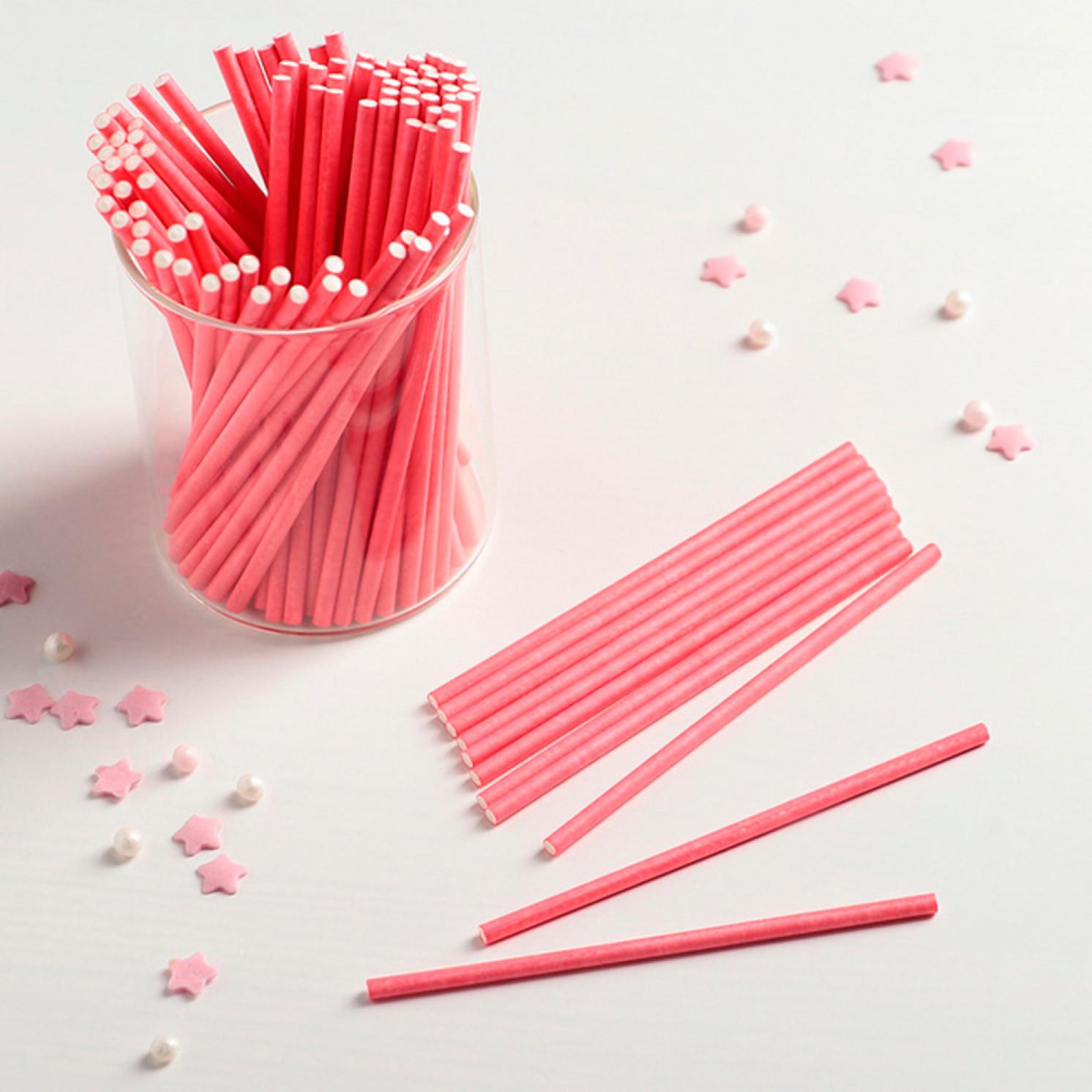 Палочки для кейкпопсов 10×0,2 см, 100 шт, цвет розовый