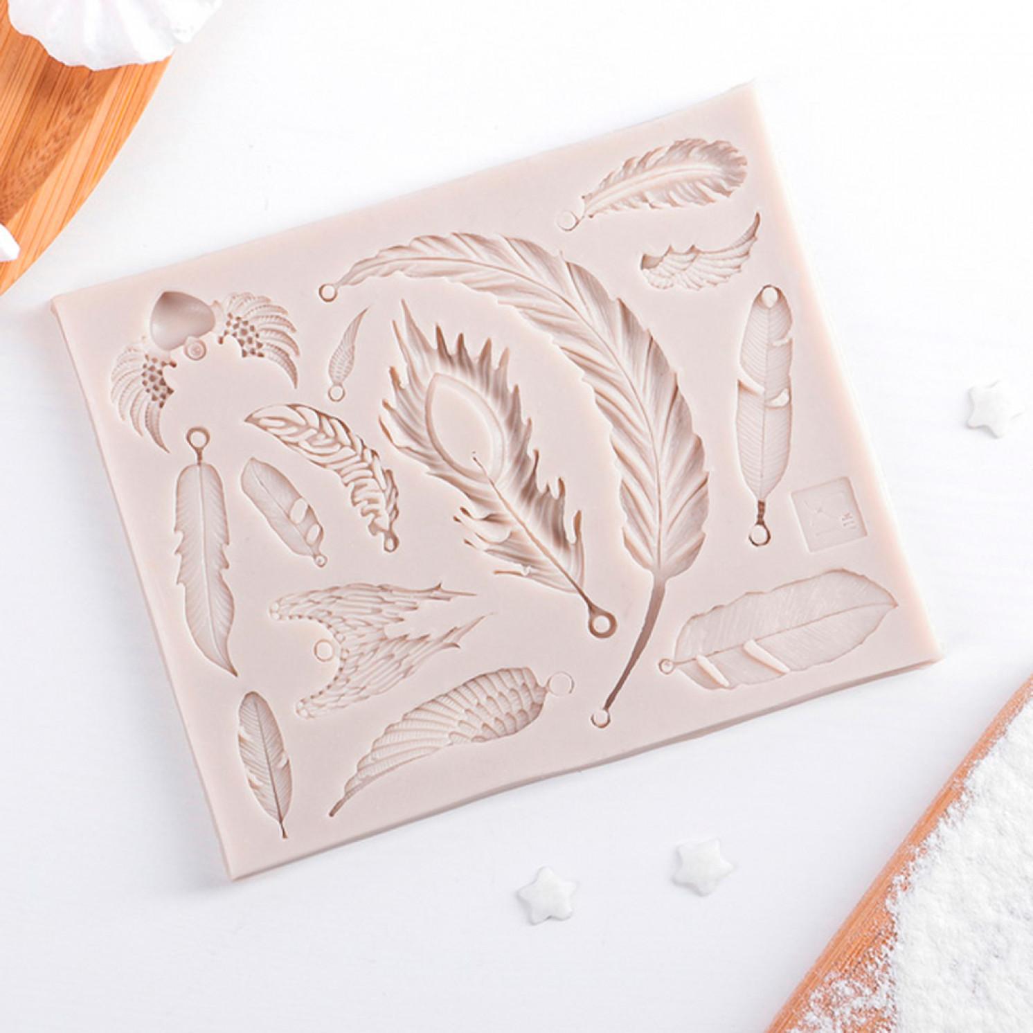 Молд силиконовый «Перья», 12×10 см, цвет МИКС