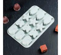 Форма для льда и шоколада «Подводные друзья», 18,5×12,5×1,5 см, 12 ячеек, цвет МИКС