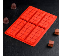 Форма для шоколада «Плитка. Мелкие дольки», 26×17×1 см, 6 ячеек, цвет МИКС