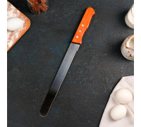 Нож для бисквита крупные зубцы, рабочая поверхность 25 см, деревянная ручка