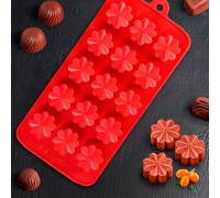 Форма для льда и шоколада «Цветочки», 21×10 см, 15 ячеек, цвет МИКС