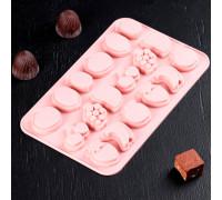 Форма для льда и шоколада «Сочно», 21×12,5×1 см, 18 ячеек, цвет МИКС