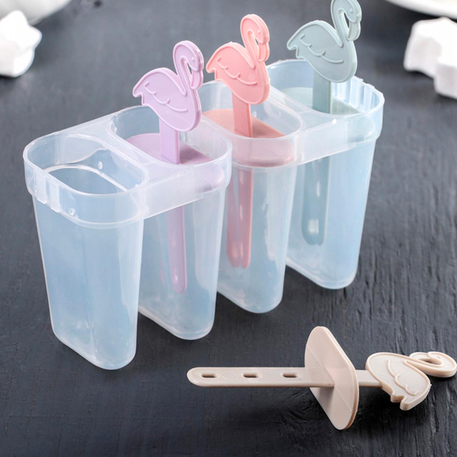 Форма для мороженого «Фламинго», 14,5×12×5,5 см, 4 ячейки, цвет МИКС