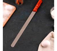 Нож для бисквита 35 см, мелкие зубцы, ручка дерево