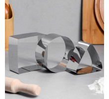 """Набор форм для выпечки и выкладки """"Квадрат, круг, треугольник"""", 10х10х5 см, 3 шт 1178184"""