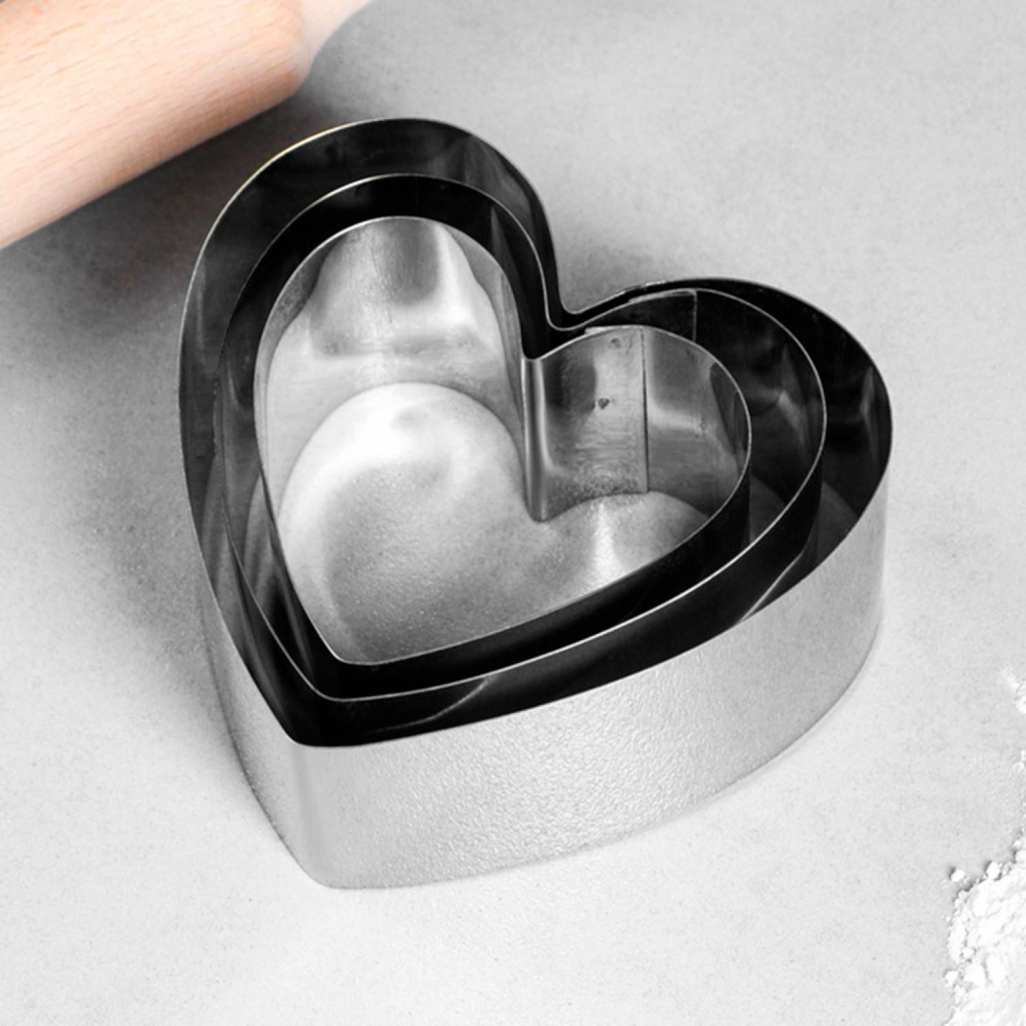 """Набор форм для выпечки и выкладки """"Сердце"""", 11 х 10 х 5 см, 3 шт."""