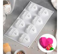 """Форма для муссовых десертов и выпечки 29×17 см """"Сердце. Геометрия"""", 8 ячеек, цвет белый"""