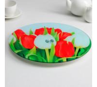 Подставка для торта вращающаяся «Тюльпаны», d=32 см