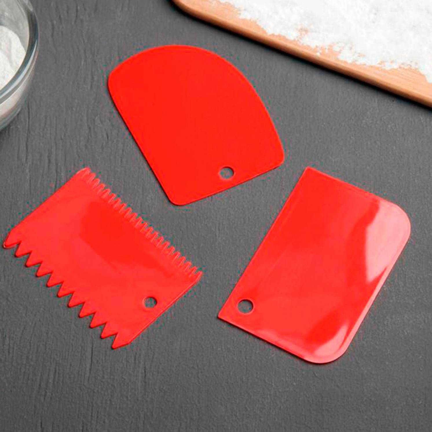 Набор шпателей кондитерских 12x8 см, 3 предмета, цвет МИКС